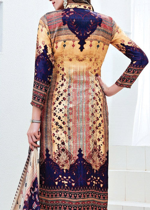 EMBROIDERED MULTICOLOR SATIN PRINTED SALWAR KAMEEZ DRESS ONLINE - FREE SHIPPING USA CANADA