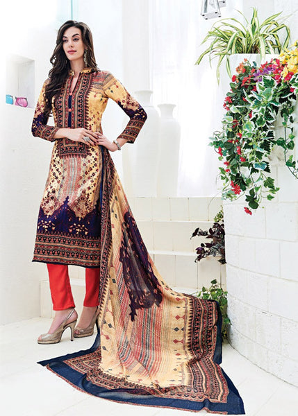 EMBROIDERED MULTICOLOR SATIN PRINTED SALWAR KAMEEZ