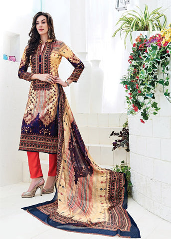 EMBROIDERED MULTICOLOR SATIN PRINTED SALWAR KAMEEZ DRESS ONLINE