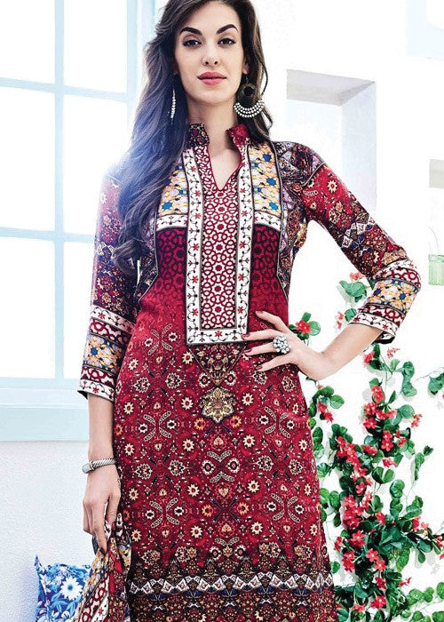 PRINTED MULTICOLOR SATIN SALWAR KAMEEZ WITH EMBROIDERY WORK - FREE SHIPPING USA CANADA