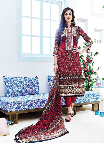 PRINTED MULTICOLOR SATIN SALWAR KAMEEZ WITH EMBROIDERY WORK
