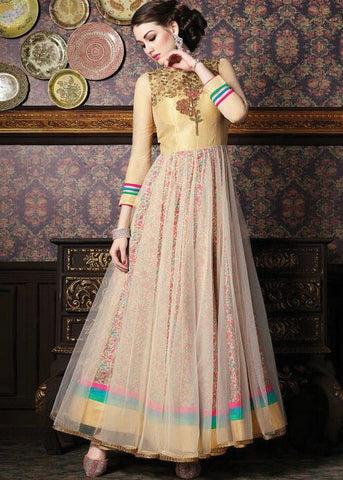 MULTICOLOR SATIN ANARKALI SUIT - SHOP ONLINE
