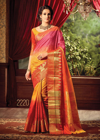 GORGEOUS MULTICOLOR SILK PRINTED SAREE ONLINE FOR WOMEN