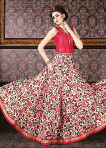 MULTICOLOR ZURICH SILK FLORAL PRINT ANARKALI SUIT