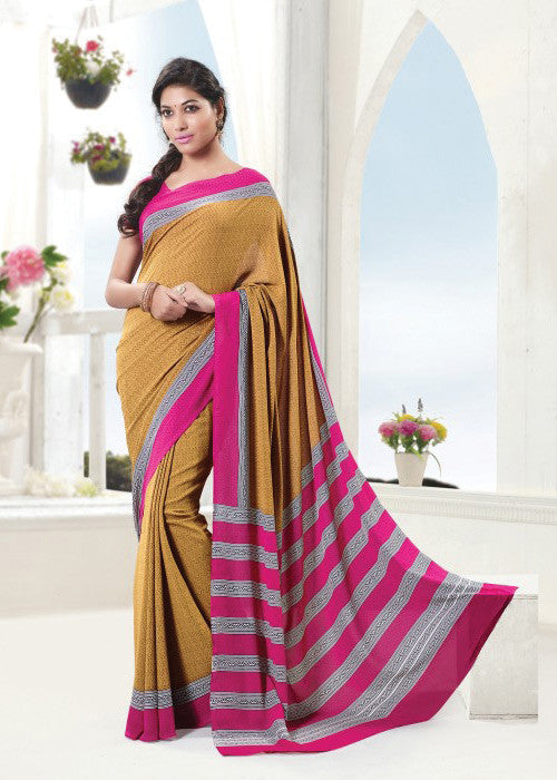 MUSTARD CREPE SAREE - CHEAP SAREE ONLINE