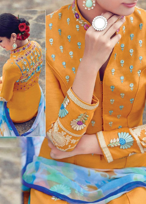 MUSTARD PURE SOFT COTTON SATIN READYMADE SALWAR KAMEEZ DRESS ONLINE