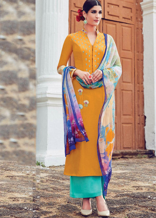 MUSTARD PURE SOFT COTTON SATIN READYMADE SALWAR KAMEEZ SUIT ONLINE - FREE SHIPPING USA CANADA