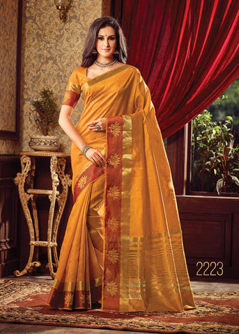 MUSTARD SILK PRINTED SAREE ONLINE FOR WOMEN