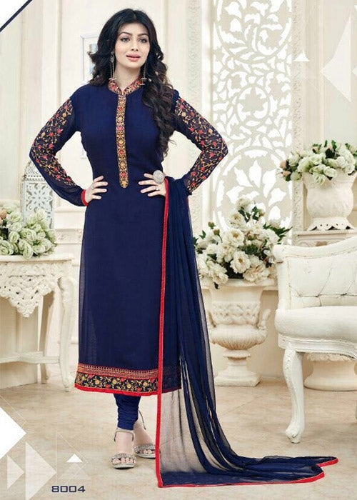 EMBROIDERED NAVY BLUE GEORGETTE AYESHA TAKIA SALWAR KAMEEZ ONLINE UK