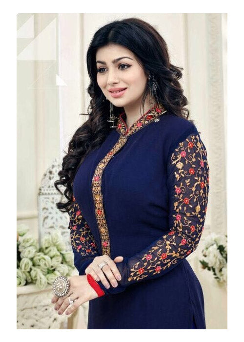 EMBROIDERED NAVY BLUE GEORGETTE AYESHA TAKIA SALWAR KAMEEZ ONLINE AUSTRALIA GERMANY
