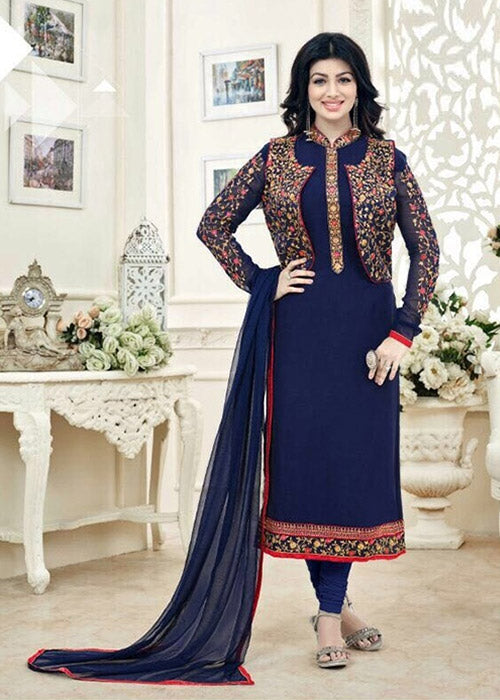 EMBROIDERED NAVY BLUE GEORGETTE AYESHA TAKIA SALWAR KAMEEZ ONLINE USA