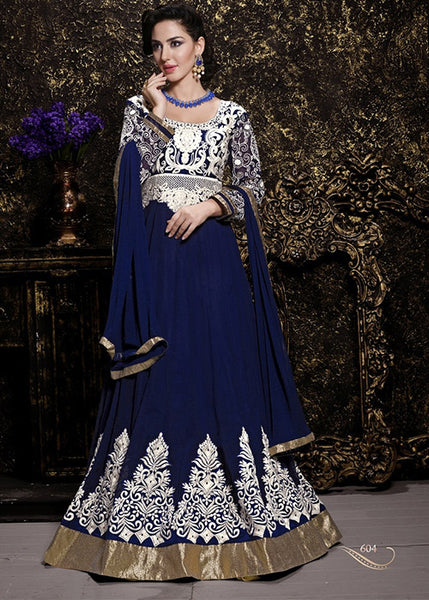 EMBROIDERED NAVY BLUE GEORGETTE ANARKALI SUIT ONLINE