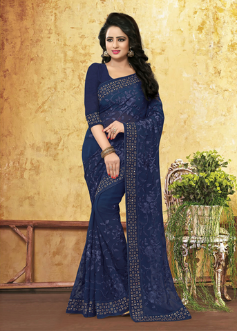 navy blue georgette sarees with border