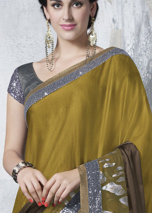 OLIVE GREEN BROWN FAUX GEORGETTE NET SAREE ON SALE