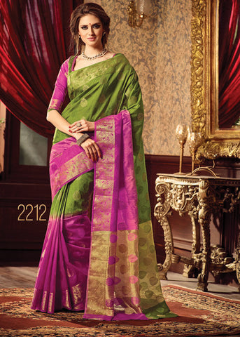 OLIVE GREEN & PINK SILK SAREE ONLINE FOR WOMEN