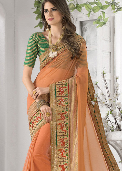 orange art silk sarees with embroidery online free shipping USA CANADA
