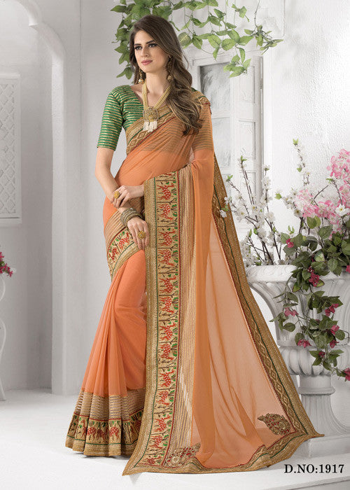 orange art silk sarees with embroidery