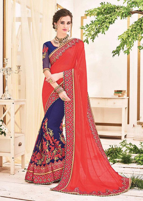 GORGEOUS ORANGE & BLUE GEORGETTE NET INDIAN WOMEN SAREE ONLINE