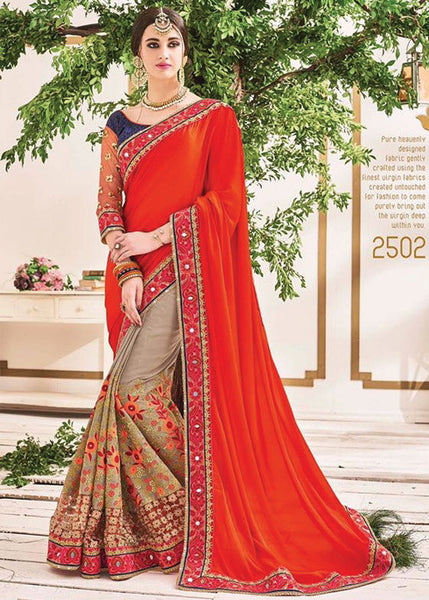 ORANGE & BROWN GEORGETTE NET SAREE - FRESH DESIGN