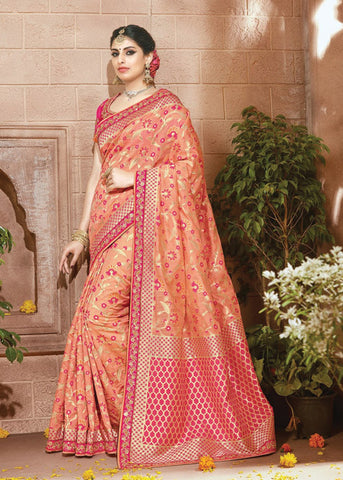 ORANGE IKKAT SILK SAREE ONLINE USA