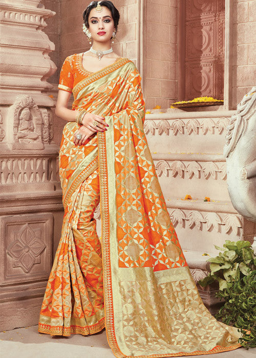 Orange Ikkat silk saree online USA - Free Shipping Worldwide