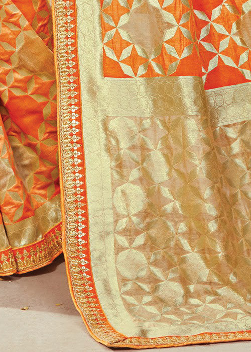 Original Orange Ikkat silk saree online USA