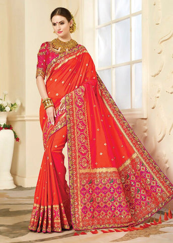 ORANGE JACQUARD SAREE ONLINE SHOPPING USA