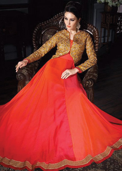 ORANGE NET ANARKALI SUIT - ANARKALI DRESS ONLINE