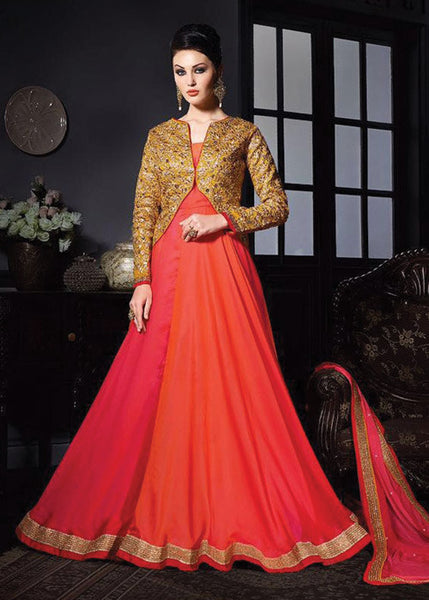 ADMIRABLE ORANGE NET ANARKALI SUIT - ANARKALI DRESS ONLINE