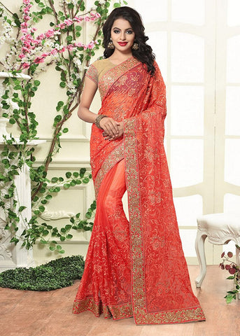 STUNNING ORANGE PURE SHIMMER SAREE ONLINE