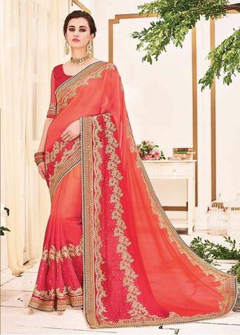 ADMIRABLE ORANGE & RED GEORGETTE NET SAREE - NEW DESIGN