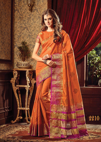 ORANGE SILK SAREE ONLINE FOR WOMEN