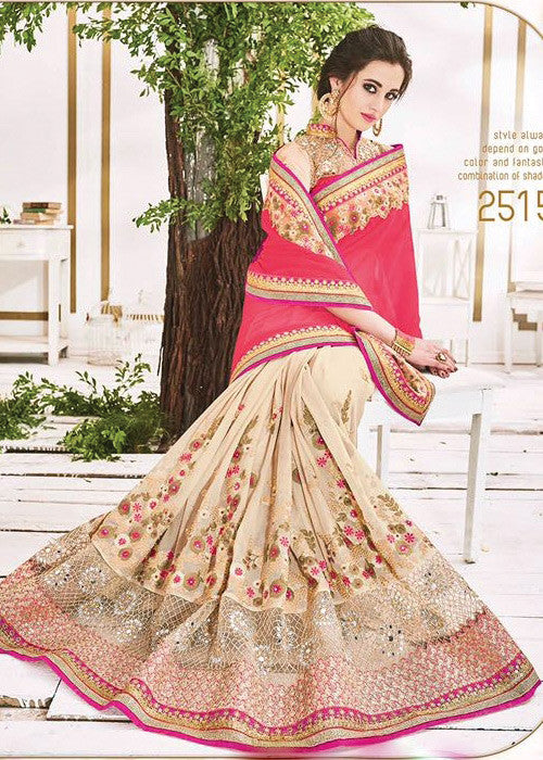 PEACH & BEIGE GEORGETTE / NET SAREE - NEW DESIGN