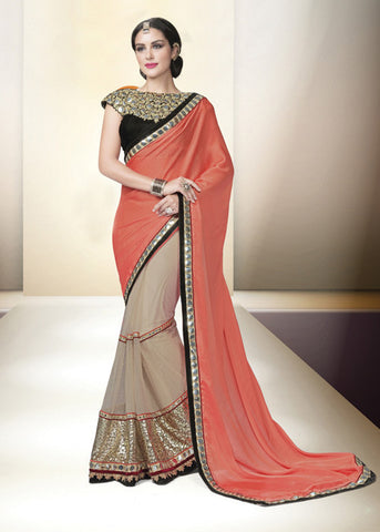 PEACH & BEIGE NET CHIFFON INDIAN LATEST SAREE ONLINE