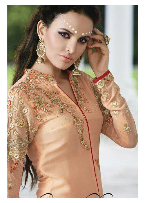 EMBROIDERED PEACH GEORGETTE STRAIGHT SALWAR KAMEEZ DRESS - FREE SHIPPING USA CANADA