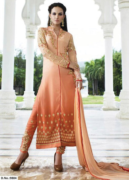 EMBROIDERED PEACH GEORGETTE STRAIGHT SALWAR KAMEEZ DRESS
