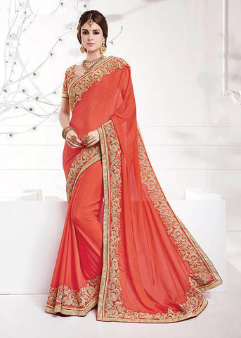 PEACH GEORGETTE SAREE - LATEST WOMENS SAREE ONLINE