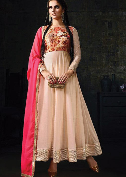 PEACH LYCRA NEW STYLISH ANARKALI DRESS ONLINE - BEST PRICE