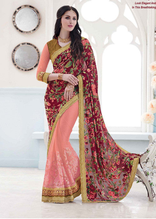 PEACH & MAROON VELVET BRASSO NET SAREE - FLORAL PARTY SAREE