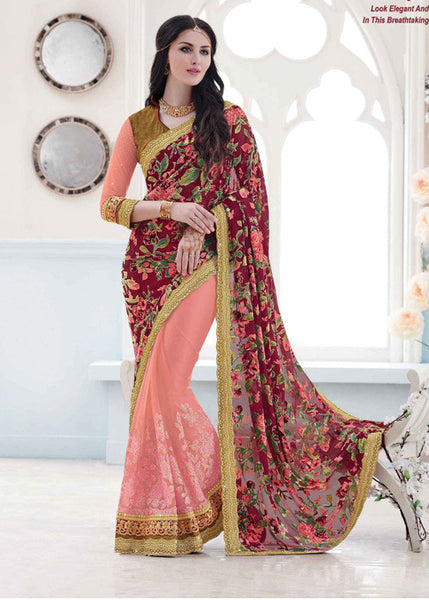 IMPERIAL PEACH & MAROON VELVET BRASSO NET SAREE - FLORAL PARTY SAREE