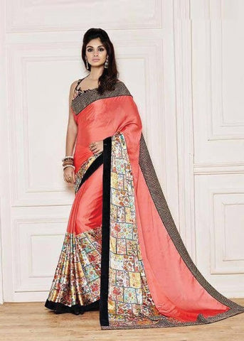 PEACH NET SILK GEORGETTE SAREE - INDIAN SARI ONLINE
