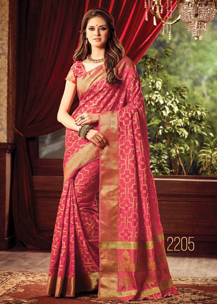 BRILLIANT PEACH SILK SAREE ONLINE FOR WOMEN