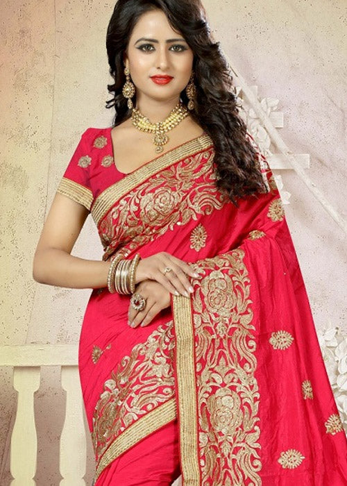 GORGEOUS PINK ART SILK SAREE ONLINE - FREE SHIPPING USA CANADA UK AUSTRALIA