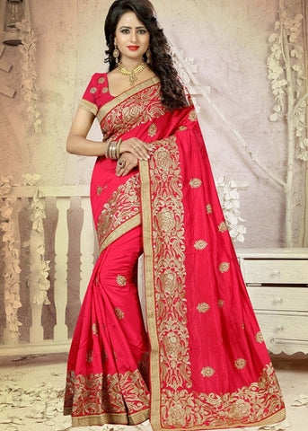 GORGEOUS PINK ART SILK SAREE ONLINE - FREE SHIPPING WORLDWIDE