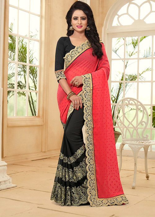 PINK & BLACK FANCY GEORGETTE SAREE - FREE SHIPPING USA CANADA UK AUSTRALIA GERMANY