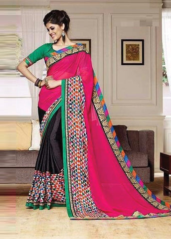 STATELY PINK & BLACK NET SILK GEORGETTE SAREE - INDIAN SARI ONLINE