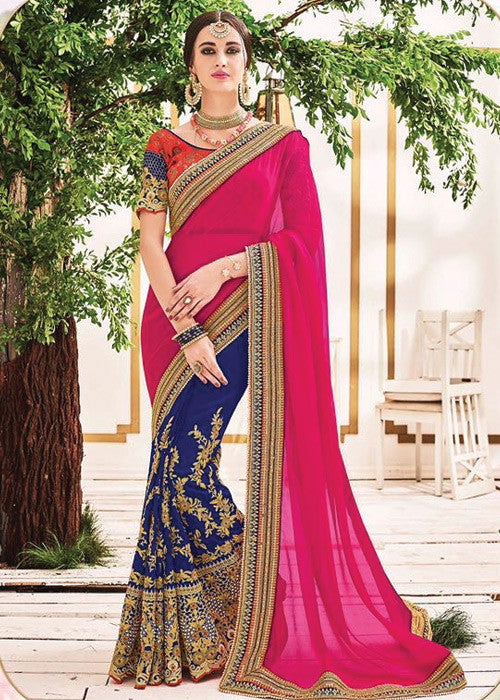 PINK & BLUE GEORGETTE NET SAREE - INDIAN SARI ONLINE