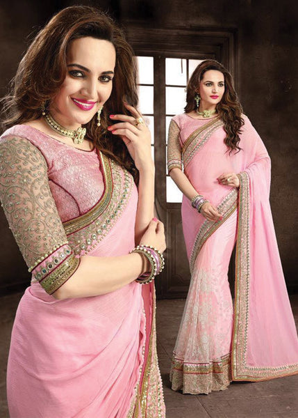 PINK CHIFFON NET SAREE - LATEST DESIGN