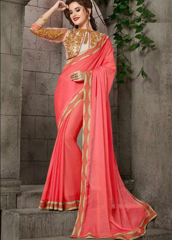SUPERB PLAIN PINK CHIFFON SAREE WITH EMBROIDERY BORDER ONLINE