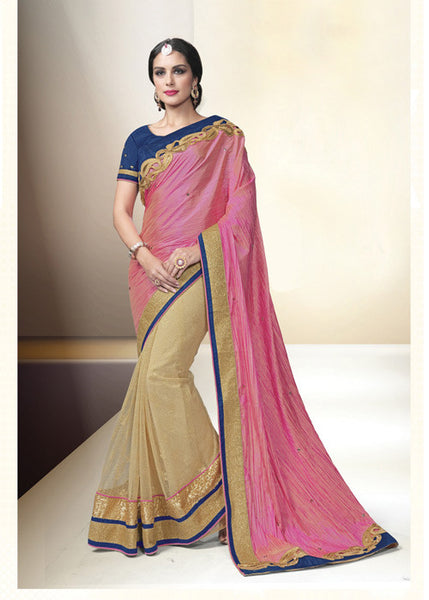 PINK & CHIKOO PAPER SILK NET INDIAN PARTY SAREE